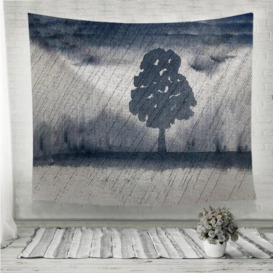 Watercolor tree in the rain Wall Tapestry
