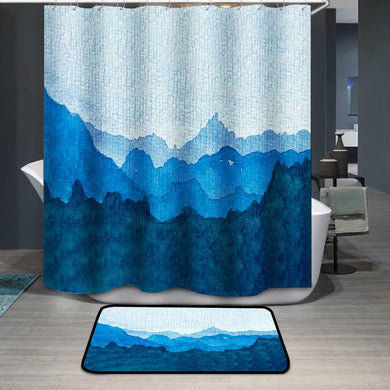 Watercolor of a blue mountain range Shower Curtain