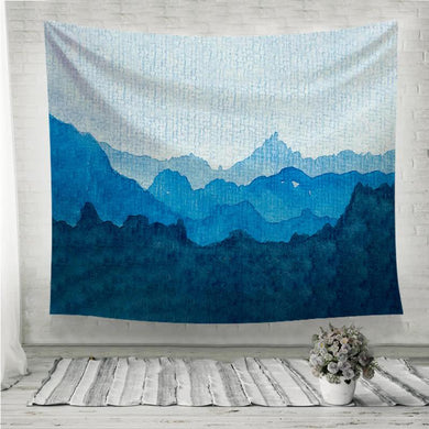 Watercolor of a blue mountain range Wall Tapestry