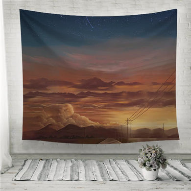 Afterglow mountain sky view Wall Tapestry