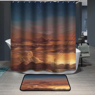 Afterglow mountain sky view Shower Curtain