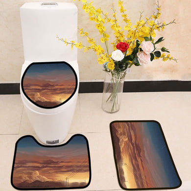 Afterglow mountain sky view 3 Piece Toilet Cover Set