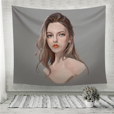 Girl portrait Grey Background Wall Tapestry