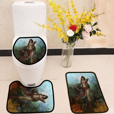Bow and arrow female elf 3 Piece Toilet Cover Set