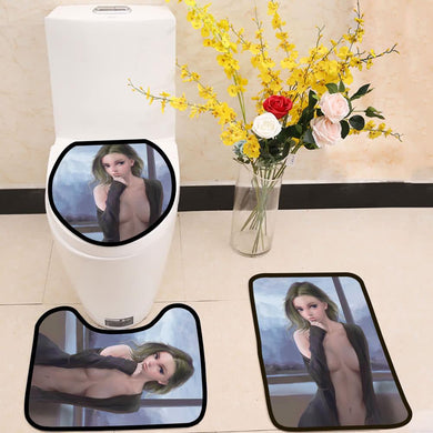 Hand drawing body art girl 3 Piece Toilet Cover Set