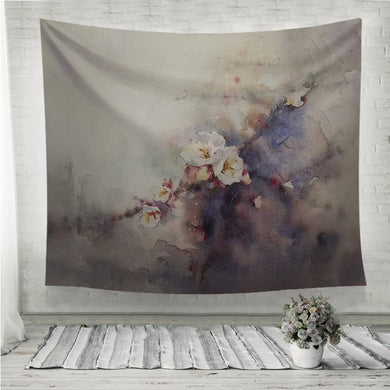 Plum blossom watercolor painting Wall Tapestry