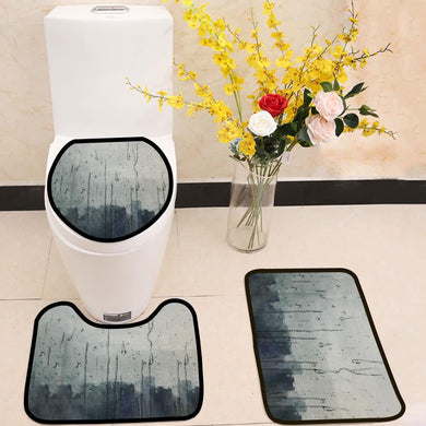 Rain hitting window watercolor painting 3 Piece Toilet Cover Set