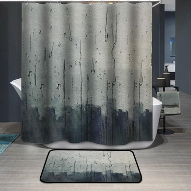Rain hitting window watercolor painting Shower Curtain