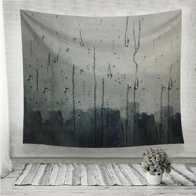 Rain hitting window watercolor painting Wall Tapestry