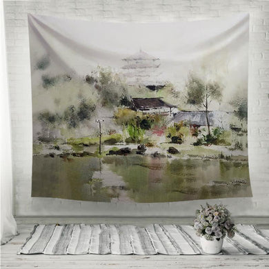 Village Tower Lake watercolor painting Wall Tapestry