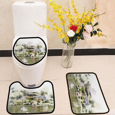 Village Tower Lake watercolor painting 3 Piece Toilet Cover Set