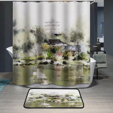Village Tower Lake watercolor painting Shower Curtain
