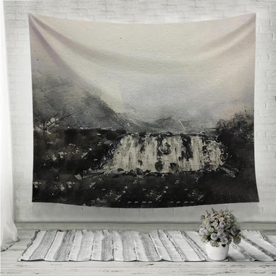 Black waterfall watercolor painting Wall Tapestry