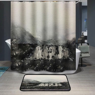 Black waterfall watercolor painting Shower Curtain