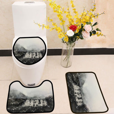Black waterfall watercolor painting 3 Piece Toilet Cover Set