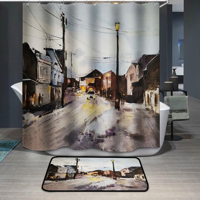 Street in a town watercolor painting Shower Curtain