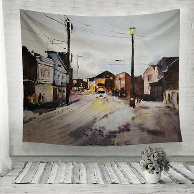 Street in a town watercolor painting Wall Tapestry