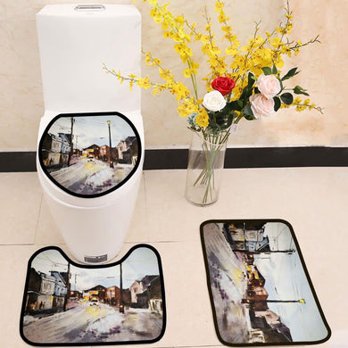 Street in a town watercolor painting 3 Piece Toilet Cover Set