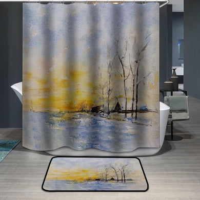 Winter lake watercolor painting Shower Curtain