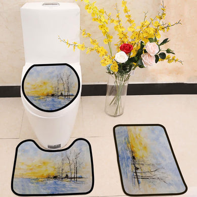 Winter lake watercolor painting 3 Piece Toilet Cover Set