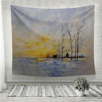 Winter lake watercolor painting Wall Tapestry