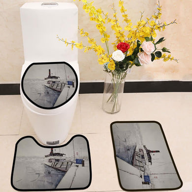 Fishing boat watercolor painting 3 Piece Toilet Cover Set