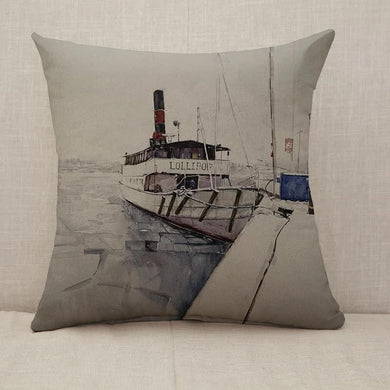 Fishing boat watercolor painting Throw Pillow [With Inserts]