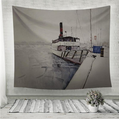 Fishing boat watercolor painting Wall Tapestry