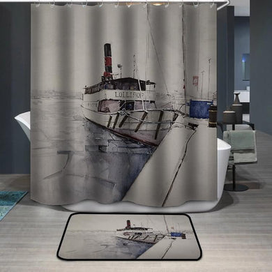Fishing boat watercolor painting Shower Curtain