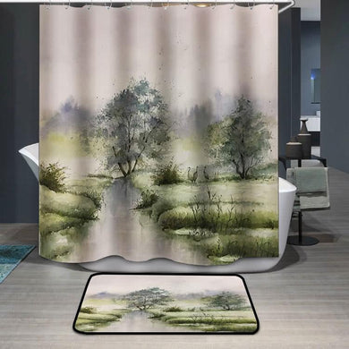Spring green crane watercolor painting Shower Curtain