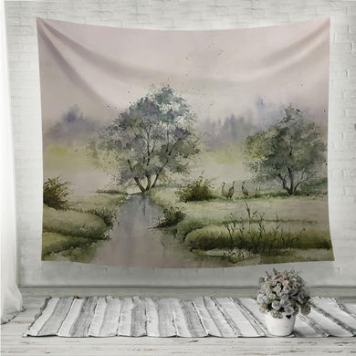 Spring green crane watercolor painting Wall Tapestry