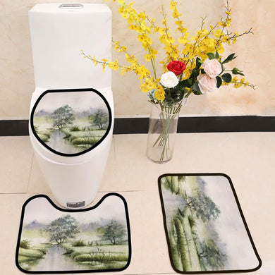 Spring green crane watercolor painting 3 Piece Toilet Cover Set