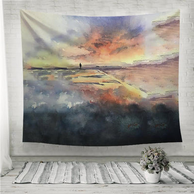 Sunset on the field watercolor painting Wall Tapestry
