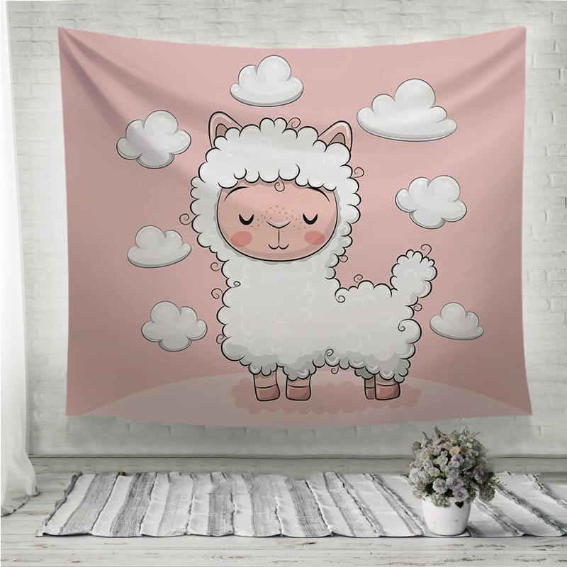 Cute Cartoon alpaca with clouds Wall Tapestry