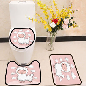 Cute Cartoon alpaca with clouds 3 Piece Toilet Cover Set
