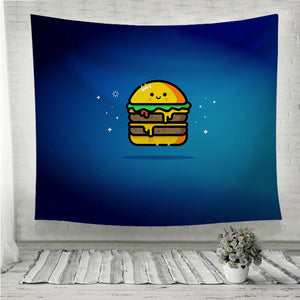 cheese burger double smiley Wall Tapestry