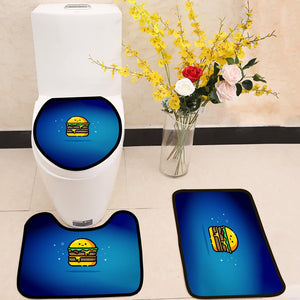 cheese burger double smiley 3 Piece Toilet Cover Set