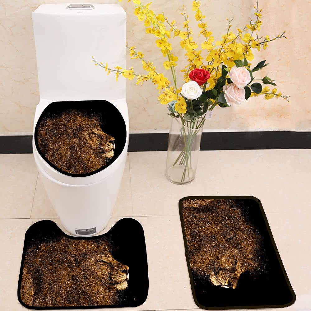 lion splash 3 Piece Toilet Cover Set