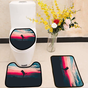 love couple beautiful landscape 3 Piece Toilet Cover Set