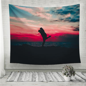 love couple beautiful landscape Wall Tapestry