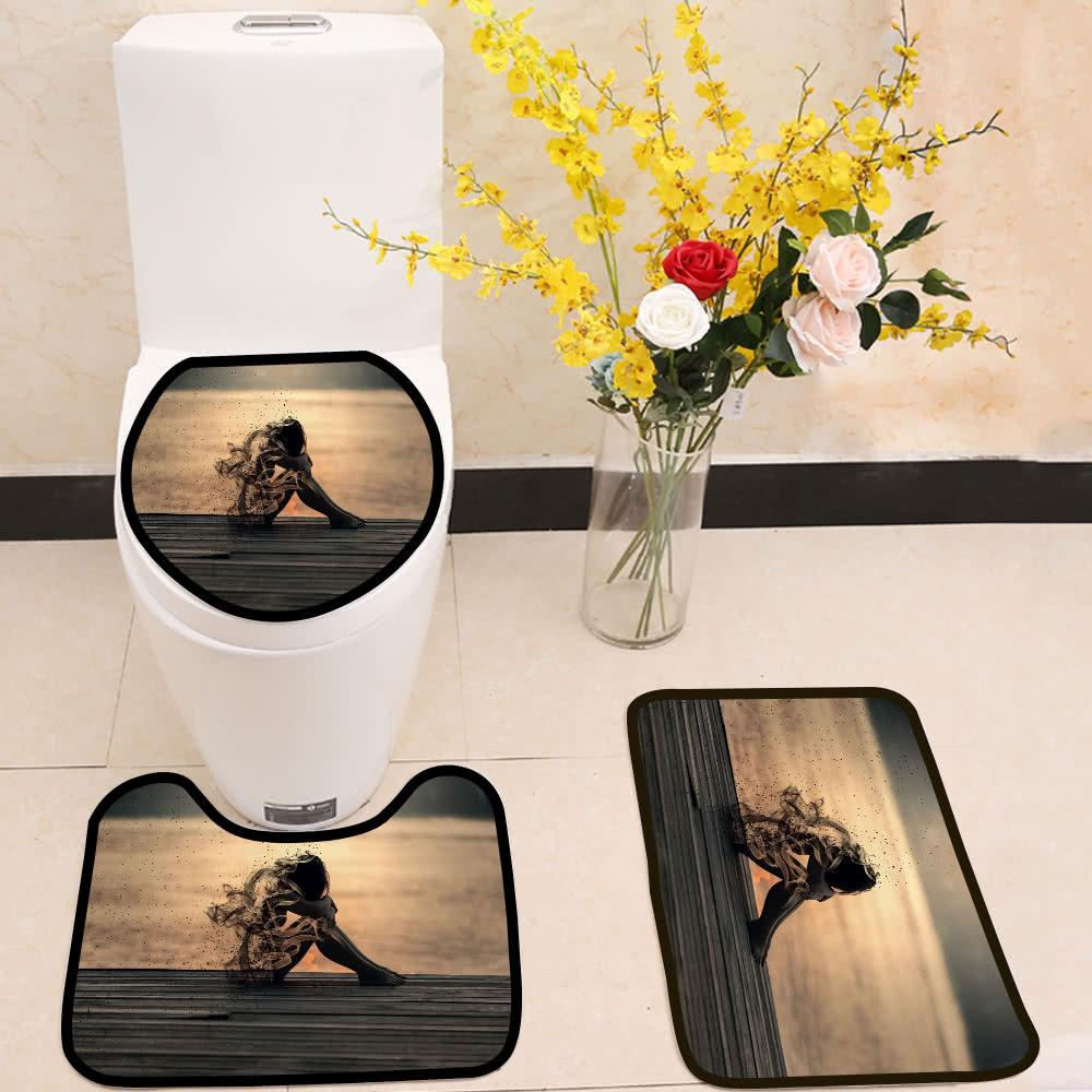 sadness dusty girl 3 Piece Toilet Cover Set