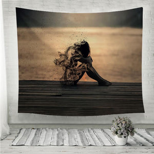 sadness dusty girl Wall Tapestry