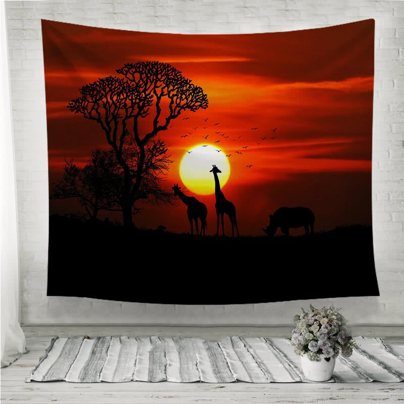sunset giraffe rhinoceros silhouette Wall Tapestry