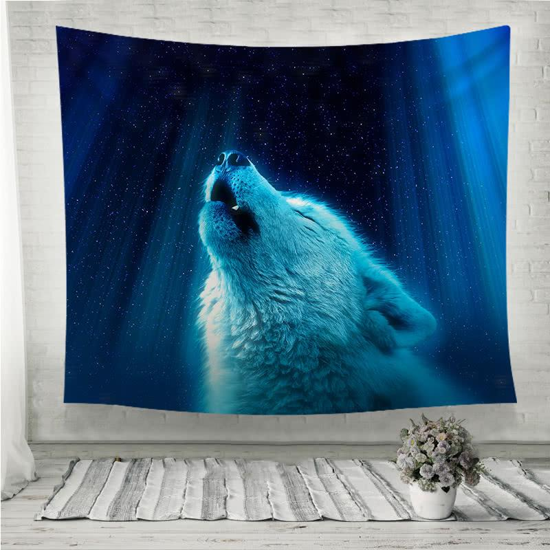 wolf fantasy light Wall Tapestry