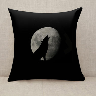 Wild wolf howling against the sky with full moon Throw Pillow [With Inserts]
