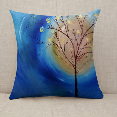 a fall tree against blue swirling sky Throw Pillow [With Inserts]