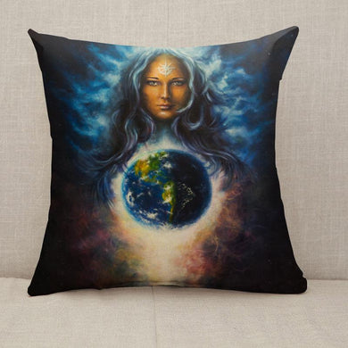 Woman goddess in space eye contact Throw Pillow [With Inserts]
