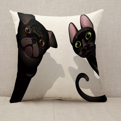 Funny cat and dog friends Throw Pillow [With Inserts]