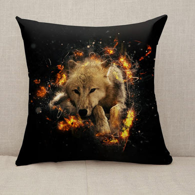 White wolf lies calmly in fire Throw Pillow [With Inserts]