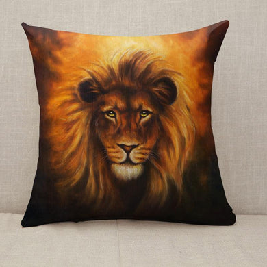 Lion close up portrait eye contact Throw Pillow [With Inserts]